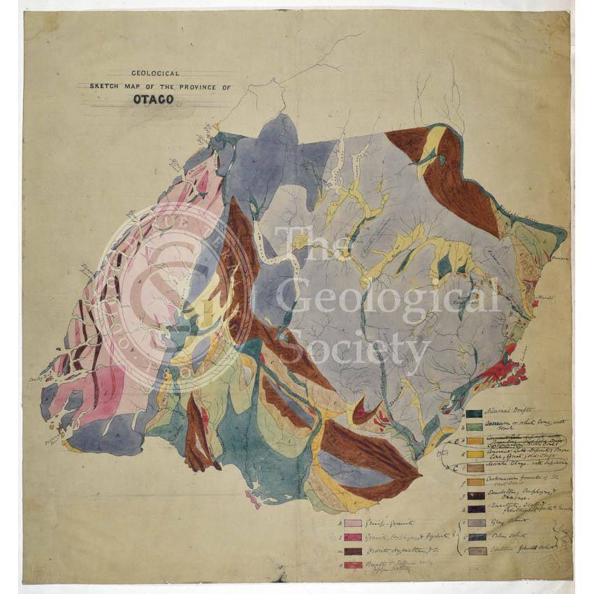 Map of Otago, New Zealand (Hector, 1862-1864)