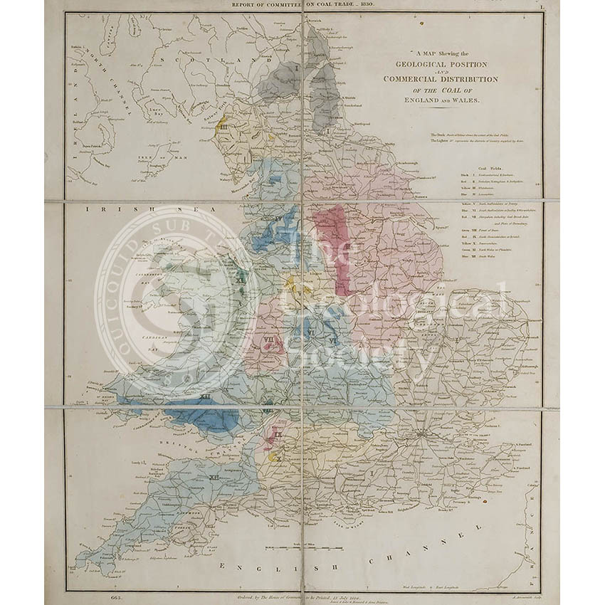 Map showing the Geological Position and Commercial Distribution of the Coal of England and Wales (House of Commons, 1830)