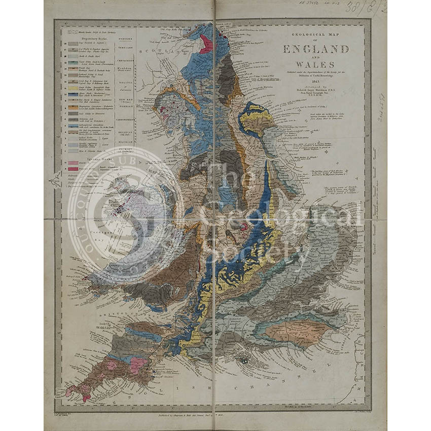 Geological map of England and Wales (Murchison, 1843)