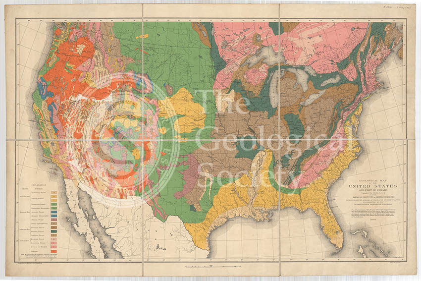 Geological map of the United States and part of Canada (Hitchcock, 1886)