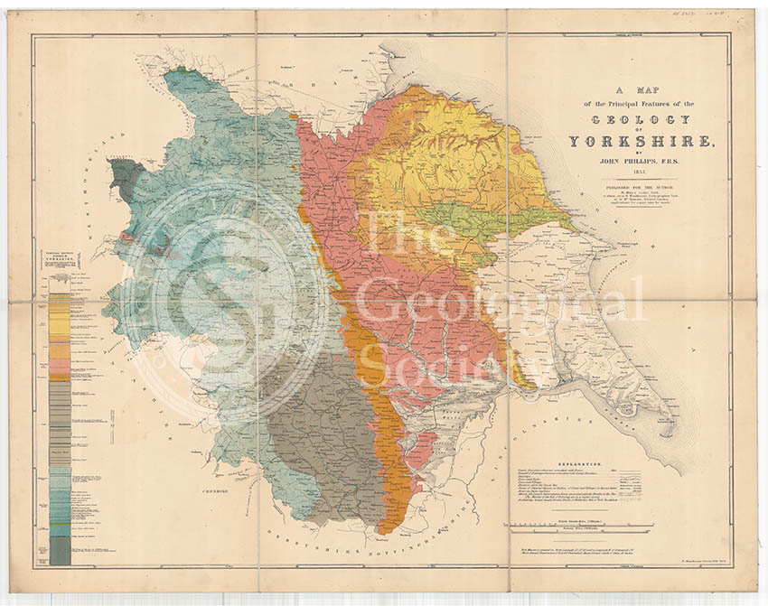 A Map of the Principal Features of the Geology of Yorkshire (Phillips, 1853)