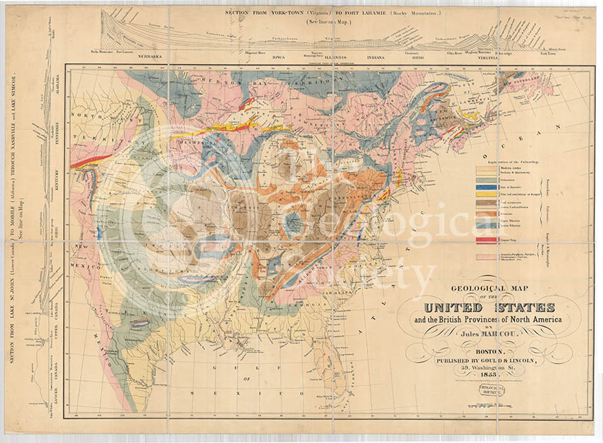 Geological Map of the United States and the British Provinces of North America (Marcou, 1853)