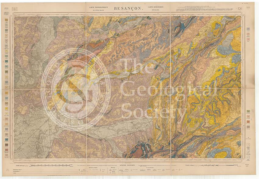 Carte géologique de la France 1:80,000. Feuille 126 Besançon (1892)