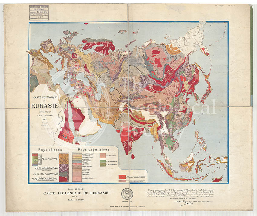 Carte tectonique de l'Eurasie (Argand, 1928)