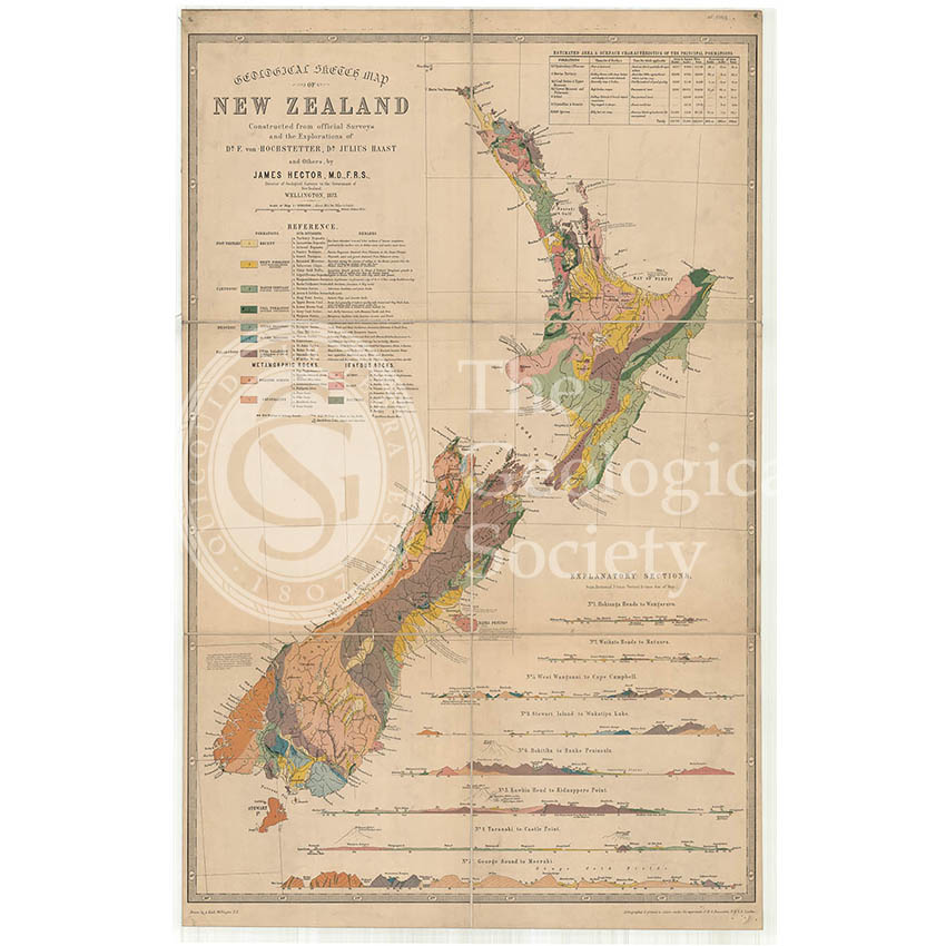 Map of New Zealand (James Hector, 1873)