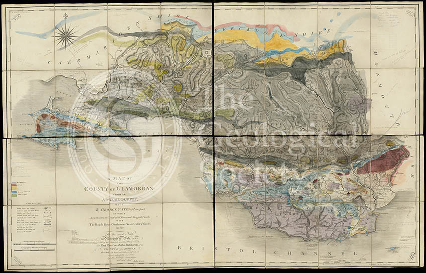 Geological map of Glamorgan (Greenough/Smith 1799-1818)