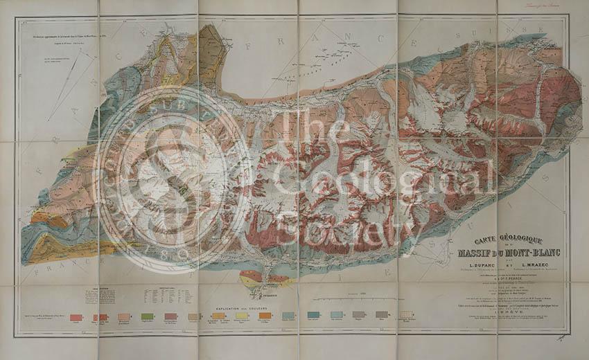 Carte géologique du Massif du Mont-Blanc (Duparc and Mrazec, 1896)