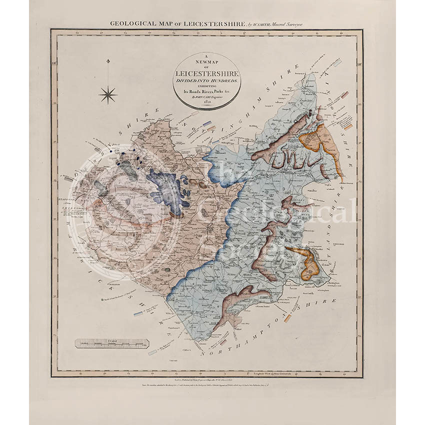 Geological Map of Leicestershire (William Smith, 1822)
