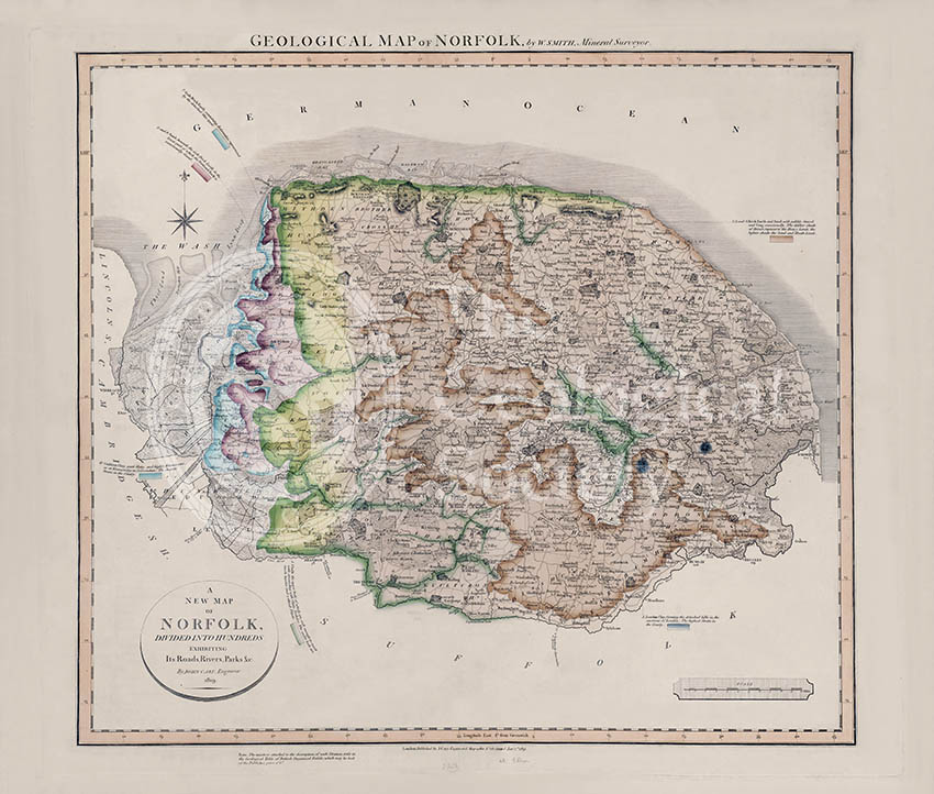 Geological Map of Norfolk (William Smith, 1819)