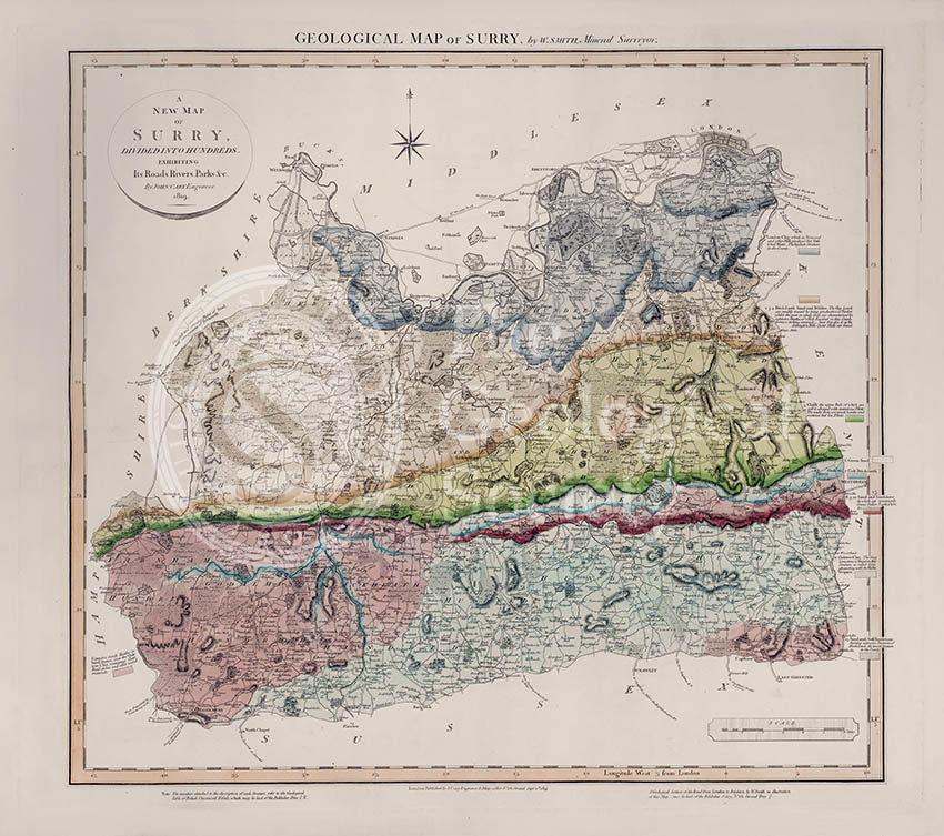 Geological Map of Surry (William Smith, 1819)