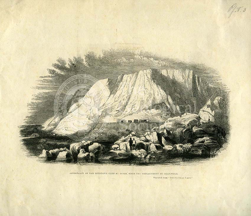 'Appearance of the Roundown Cliff at Dovor (sic) since the displacement by gunpowder'