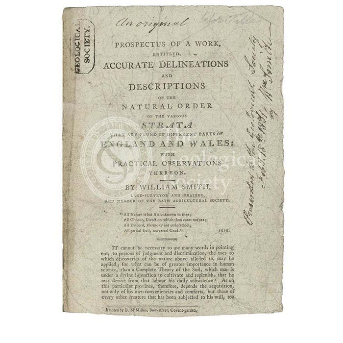 Prospectus for 'Accurate Delineations and Descriptions of the Natural Order of the Various Strata…'