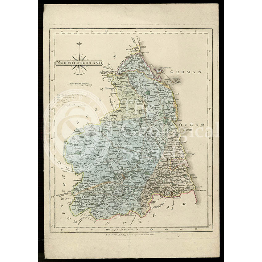 Geological map of Northumberland (Fry, c.1814)