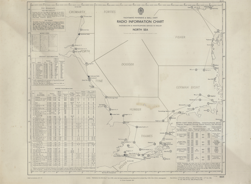 Yachtsmen's, Fishermen's & Small Craft Radio Information Chart (Hydrographic Office 1961)
