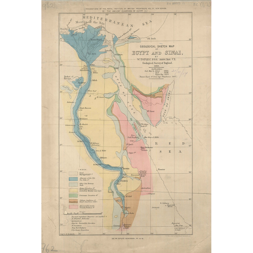 Geological Sketch Map of Egypt and Sinai (Topley 1888)
