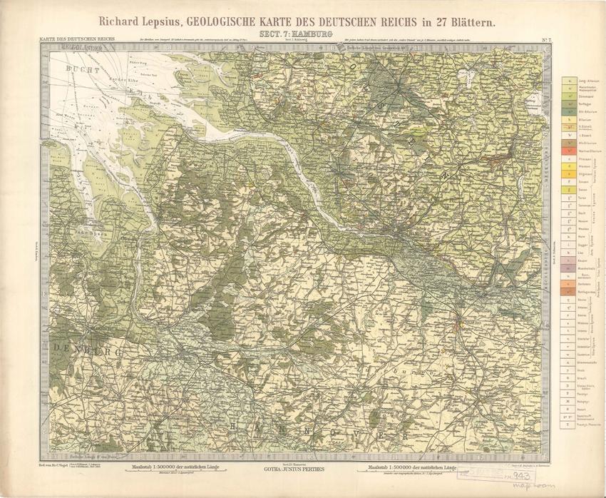 Geologisches Karte des Deutschen Reichs – 7. Hamburg (Lepsius, 1897)