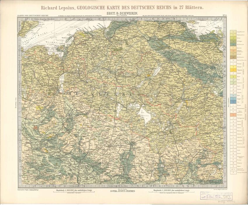 Geologisches Karte des Deutschen Reichs – 8. Schwerin (Lepsius, 1897)