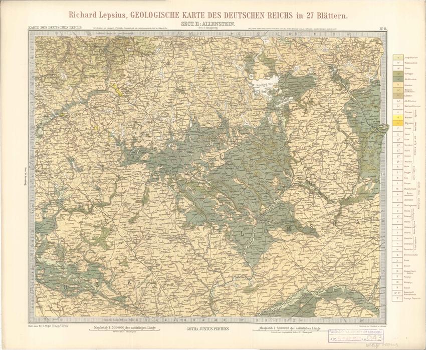 Geologisches Karte des Deutschen Reichs – 11. Allenstein (Lepsius, 1897)