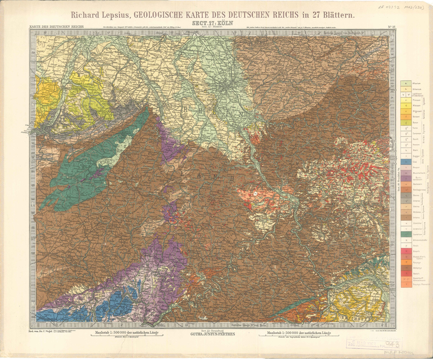 Geologisches Karte des Deutschen Reichs – 17. Koln (Lepsius, 1897)