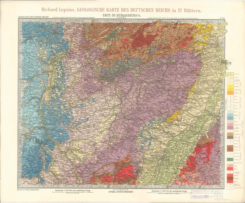 Geologisches Karte des Deutschen Reichs – 22. Strassburg I-E (Lepsius, 1897)