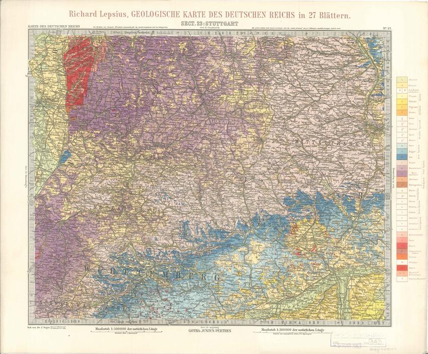 Geologisches Karte des Deutschen Reichs – 23. Stuttgart (Lepsius, 1897)
