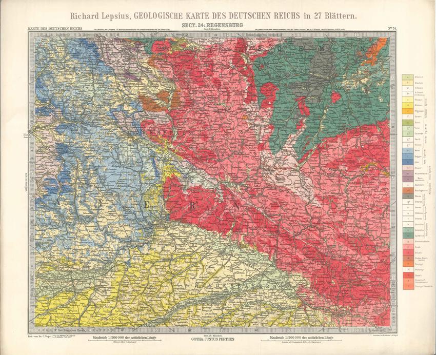Geologisches Karte des Deutschen Reichs – 24. Regensburg (Lepsius, 1897)