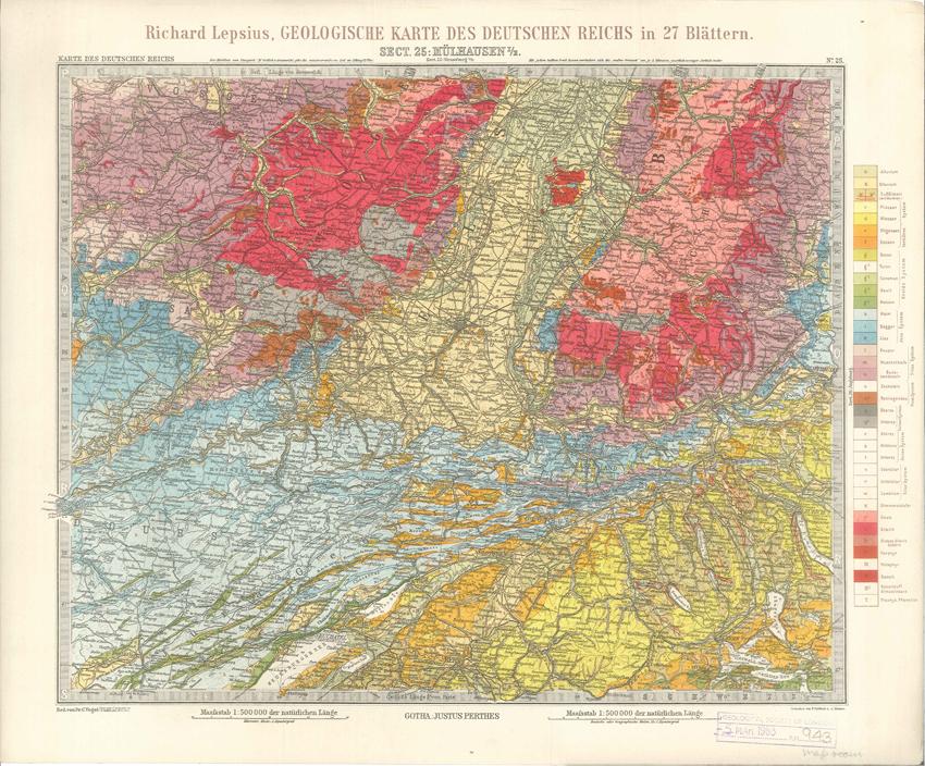 Geologisches Karte des Deutschen Reichs – 25. Mulhausen I-E (Lepsius, 1897)