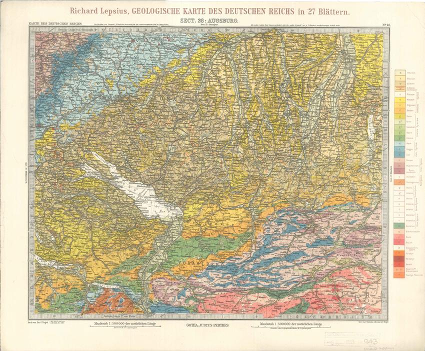 Geologisches Karte des Deutschen Reichs – 26. Augsburg (Lepsius, 1897)