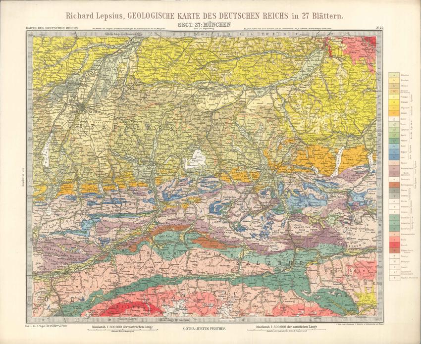 Geologisches Karte des Deutschen Reichs – 27. Munchen (Lepsius, 1897)