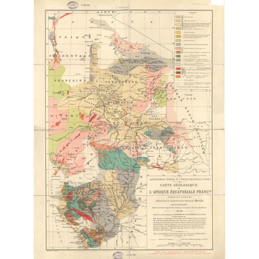 Carte géologique de l'Afrique Équatoriale Française (Loir, 1913)