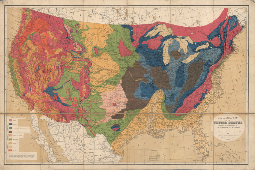 Geological map of the United States (Hitchcock and Blake, 1872)