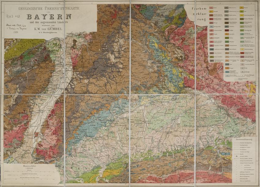 Geologische Übersichtskarte von Bayern und den angrenzenden Ländern (Karl Wilhelm von Gümbel, 1893)