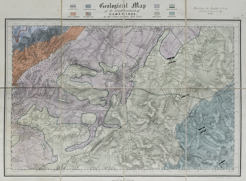 Geological map of the neighbourhood of Cambridge (Jukes-Browne, 1874)