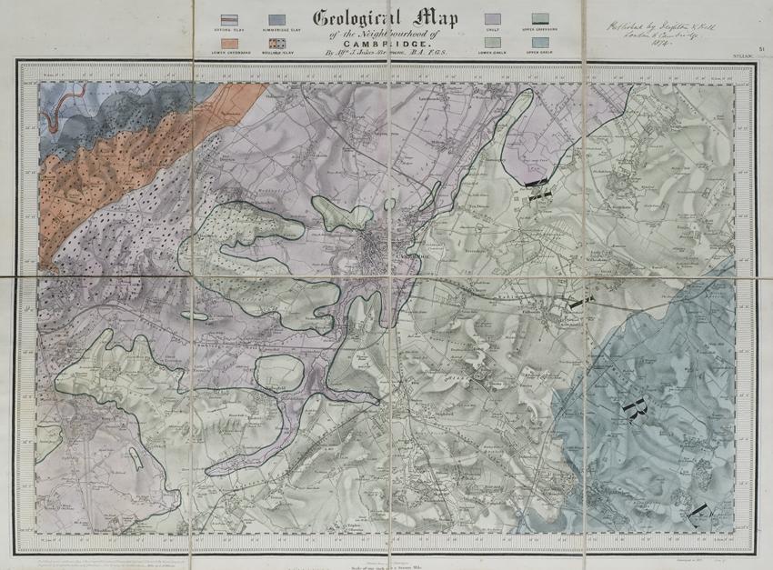Geological map of the neighbourhood of Cambridge (Jukes-Browne, 1874)