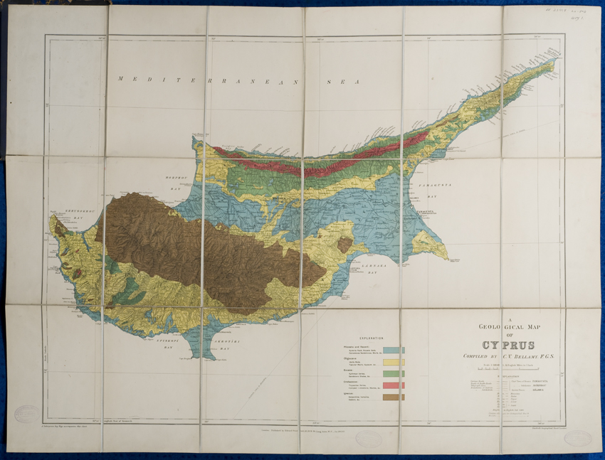 Geological map of Cyprus (Bellamy, 1905)