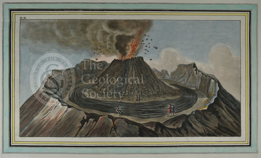 Plate IX: Interiour [sic] view of the crater of mount Vesuvius…