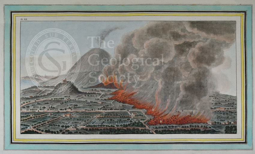 Plate XII: View of an eruption of mount Vesuvius which began on the 23rd of December 1760, and ended the 5th of January 1761