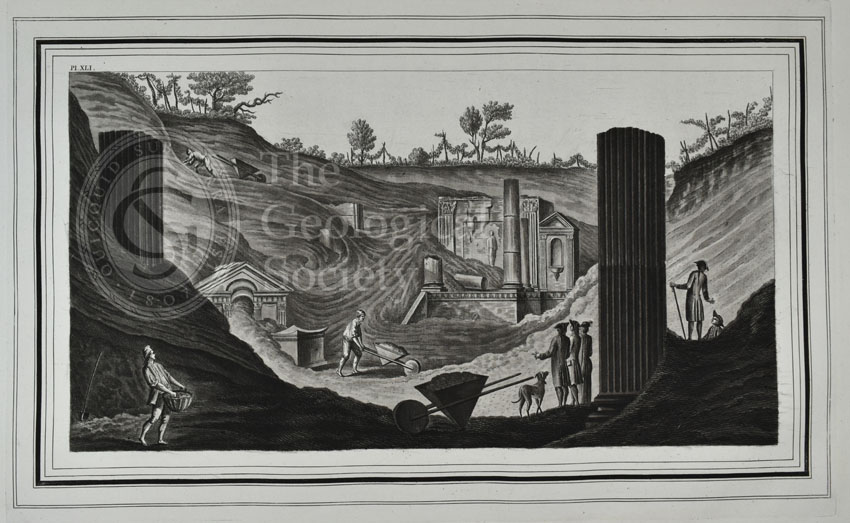 Plate XLI: View of the first discovery of the temple of Isis at Pompeii…