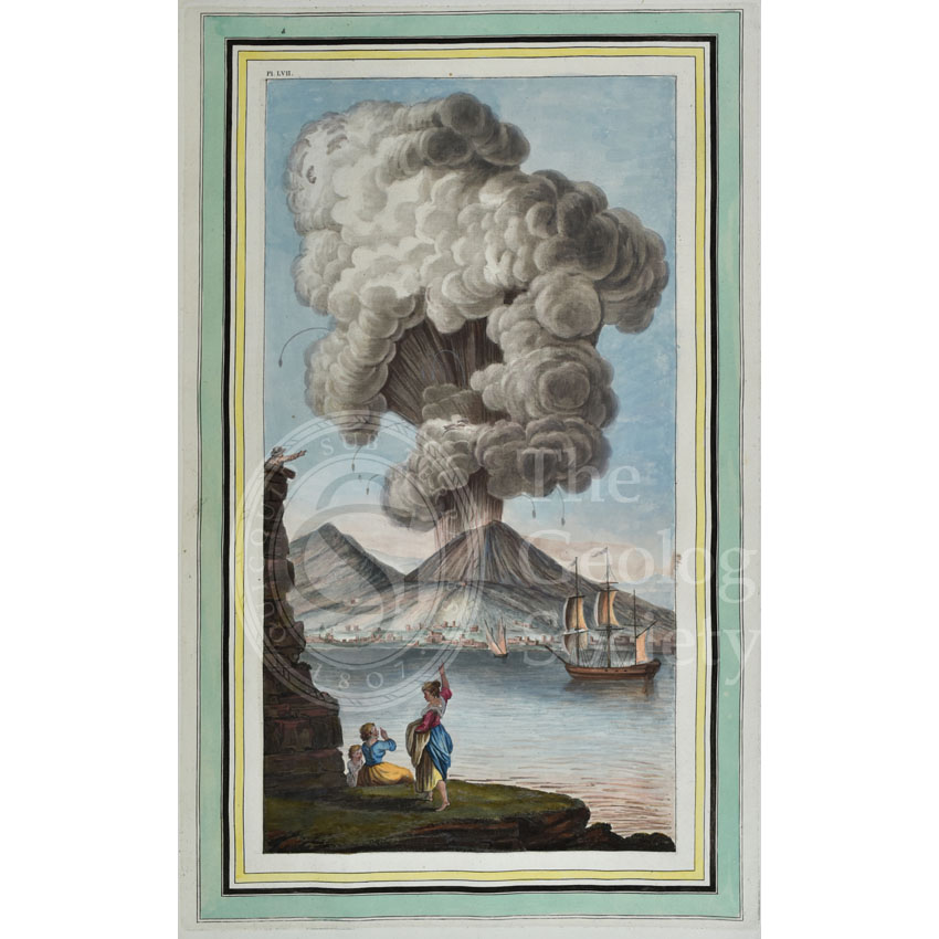 Plate LVII: View of the eruption of mount Vesuvius, Monday morning August the 9th 1779…