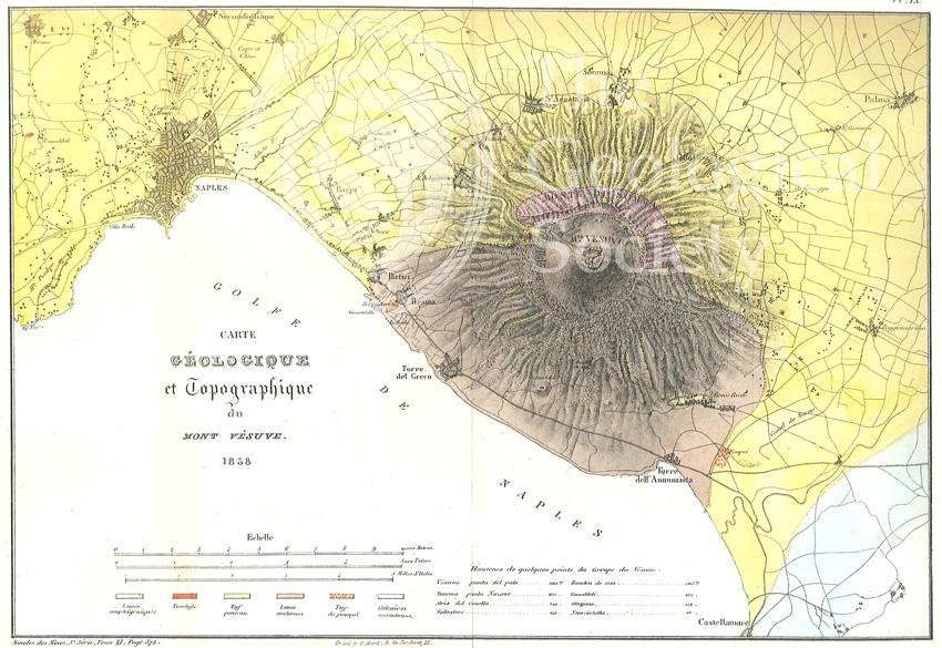 Carte géologique et topographique du Mont Vésuve (Dufrenoy, 1838)