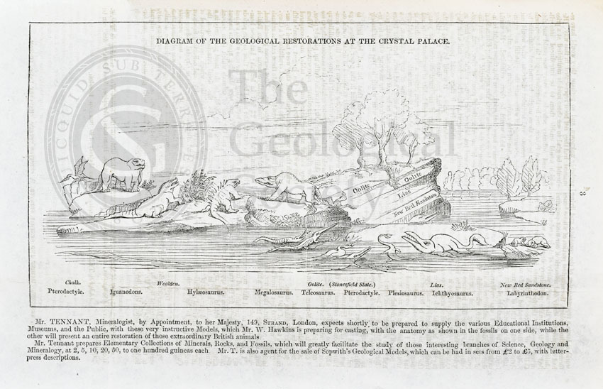 Diagram of the geological restorations at Crystal Palace