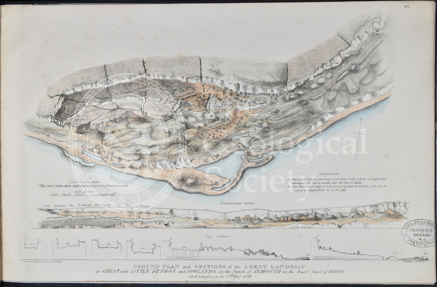 Ground plan and sections of the Great Landslip at Great and Little Bindon and Dowlands…